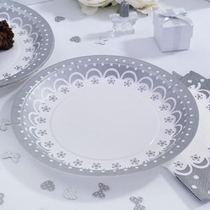 Tallerken med sølvprint til reception