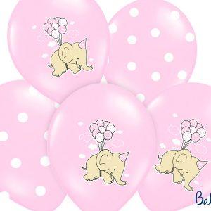 Lyserøde balloner med elefant