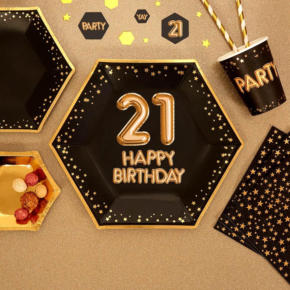9f058b24 21 års Fødselsdag - engangstallerkener - sorte med guldmønster