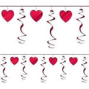 Rød swirl med hjerter