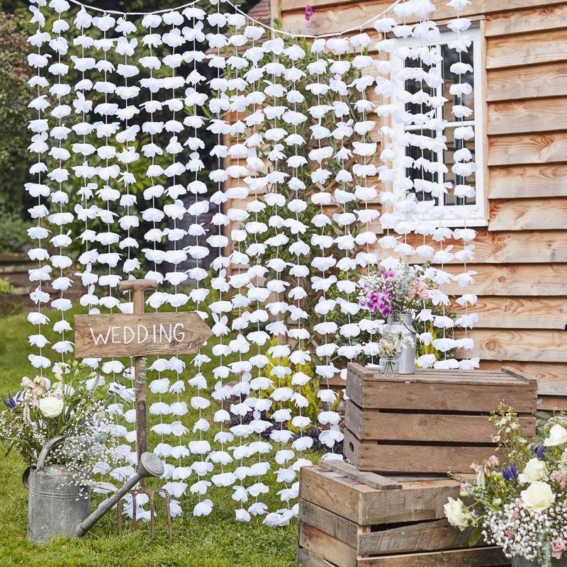 Hængegardin med blomster