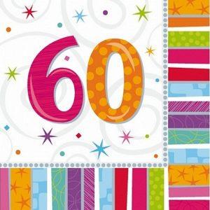 60 år servietter regnbue