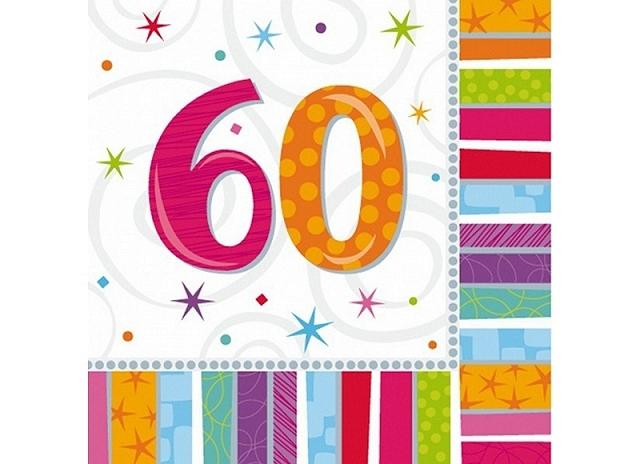2bb1f45d Regnbue farvede servietter til 60 års Fødselsdag - regnbue tema!