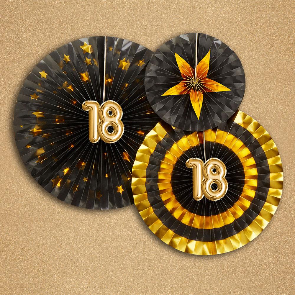 0ca2cae2 Rosetter - 18 års Fødselsdag - sort/guld dekorations rosetter - 3 stk