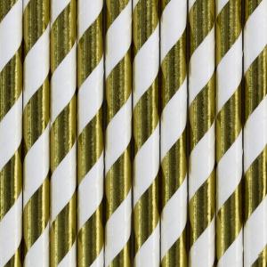 Sugerør med guldfarvede striber