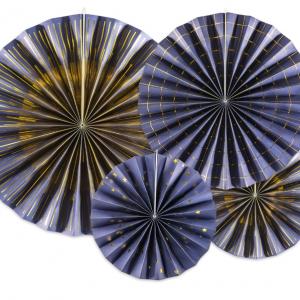 Navy blue rosetter med guldmønster