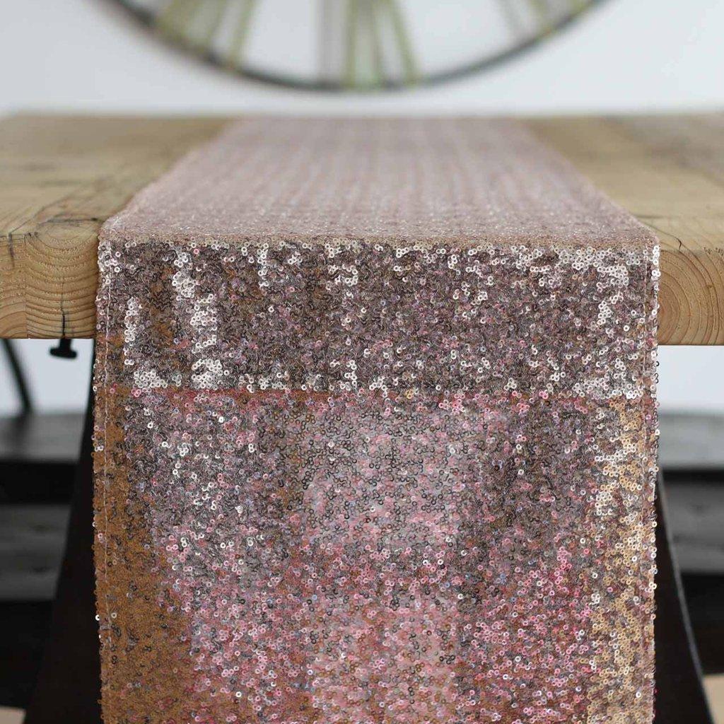 Rosa guld bordløber med pailletter