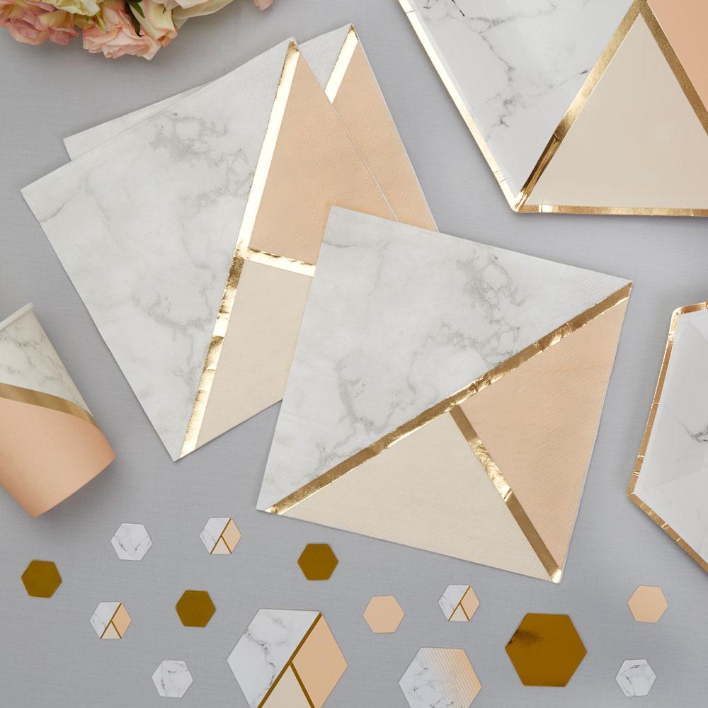 Servietter guld/ peach fersken colour block marble