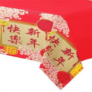Rød plastdug med kinesisk mønster
