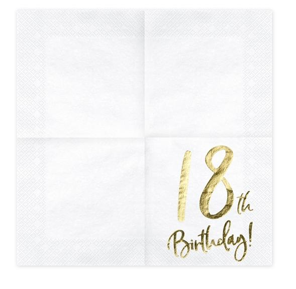 54fe264b Hvide servietter med guldprint til 18 års Fødselsdag – 20 stk – 33X33 cm