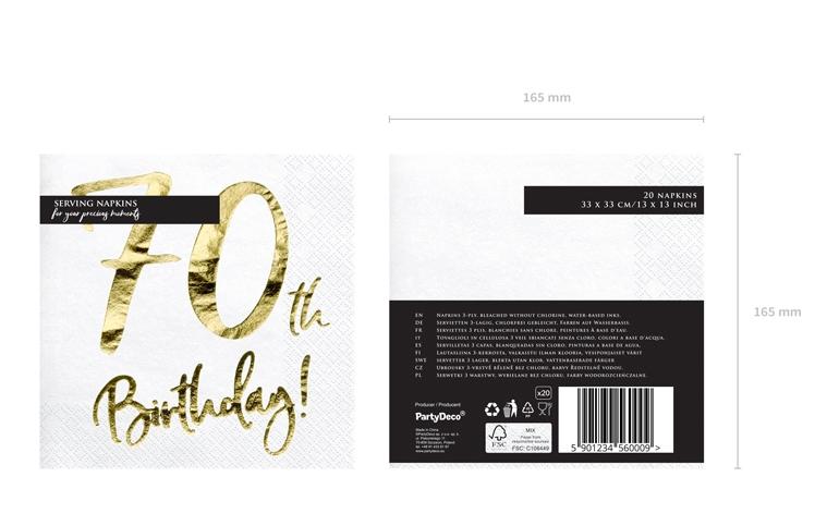 e421113e Hvide servietter med guldprint til 70 års Fødselsdag – 20 stk – 33X33 cm  (Kopier)