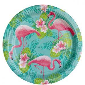 Stor tallerken med flamingoer